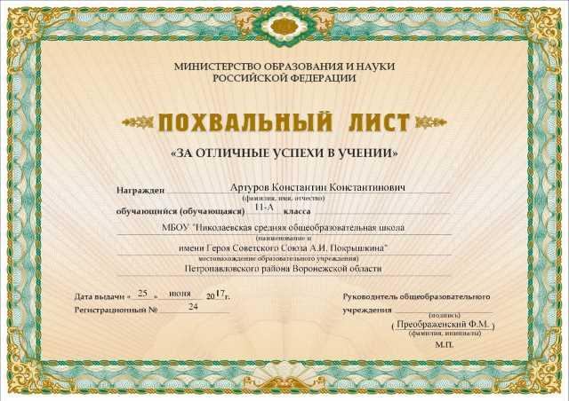 Заполненный лист ПК Неопринт