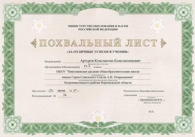 Заполненный лист ФГУП Типография №12