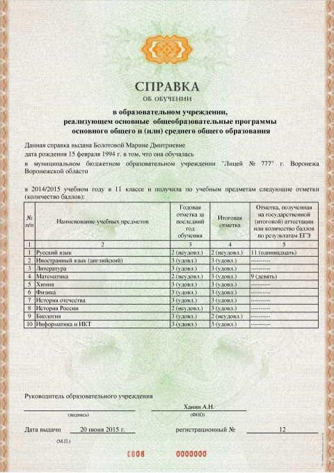 Заполненная справка Сибпро