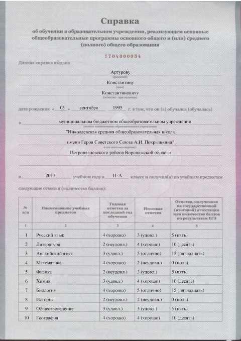 Заполненная справка Спецбланк Москва
