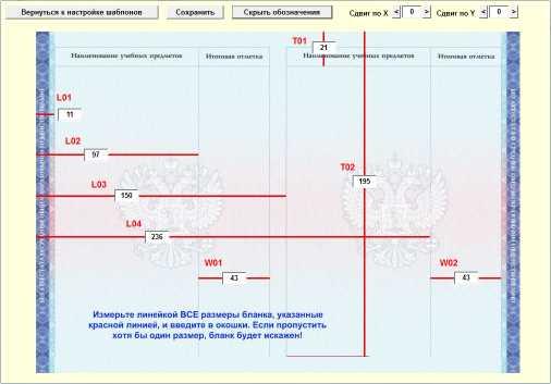Редактирование шаблона бланка приложения к аттестату (оценки)