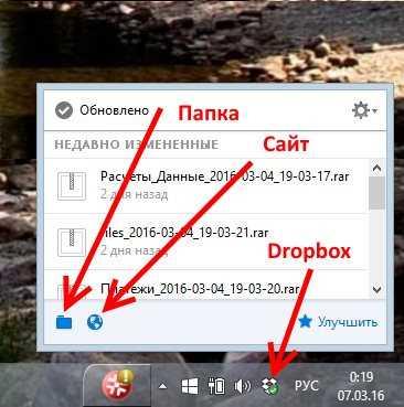 Окно Dropbox