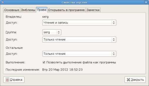 Настройка исполнения файла